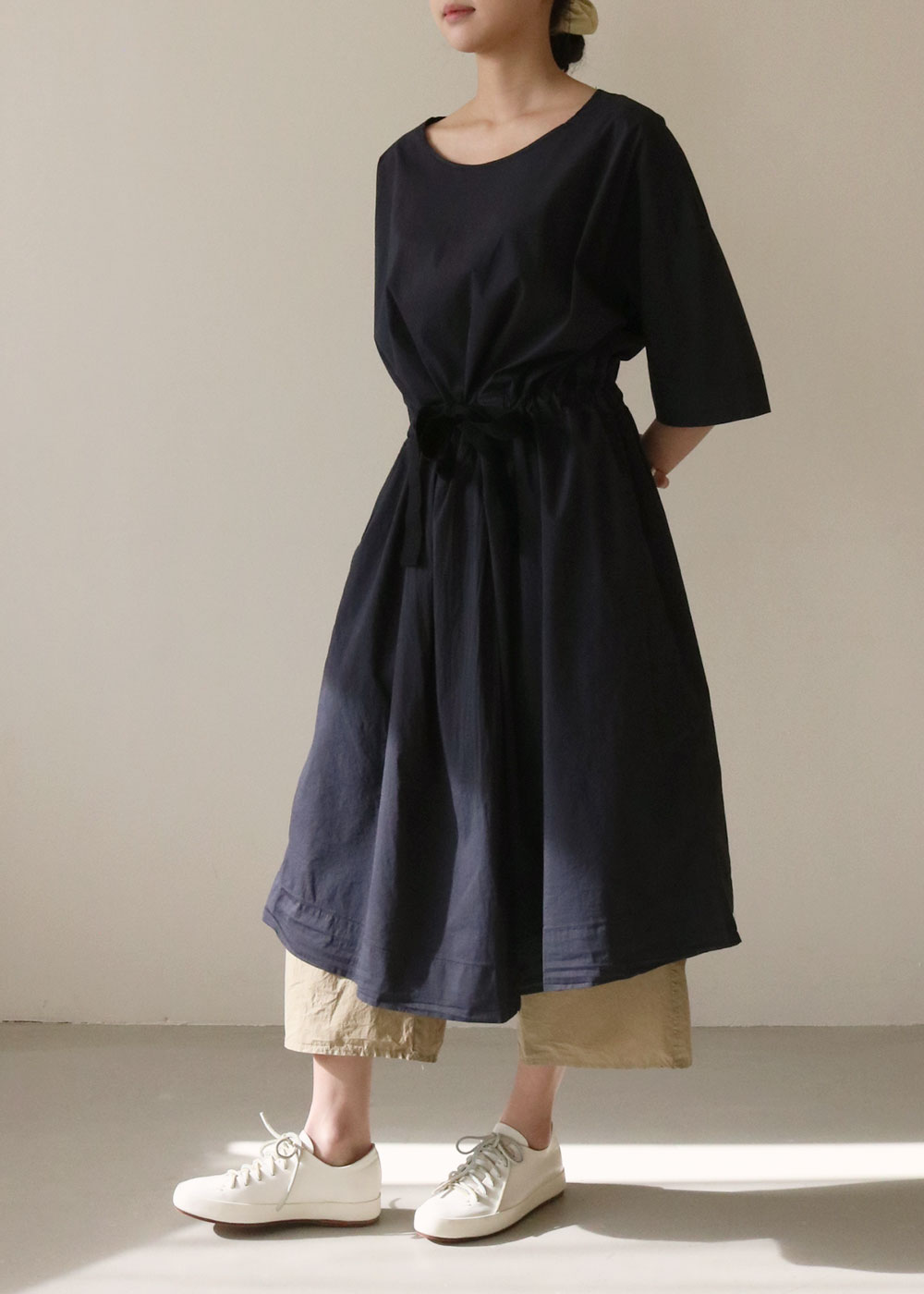 BELTED DRESS TSL - navy