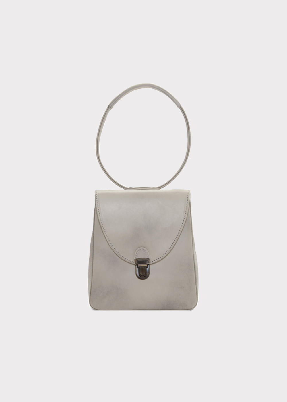 MINI RECTANGULAR LOCK BAG WITH SMALL HANDLE - dirty white